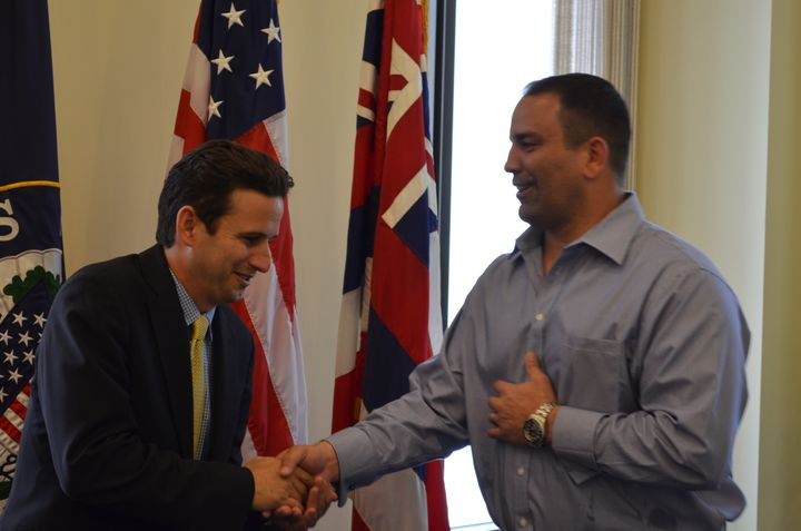 U.S. Sen. Brian Schatz (D-Hawaii), left, is pictured with Guam Sen. Brant McCreadie in 2005. McCreadie introduced the Ch