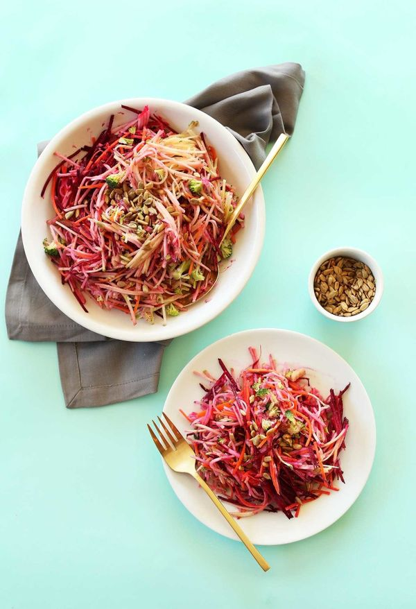 "<strong>Get the <a href=""http://minimalistbaker.com/simple-fall-slaw/"" target=""_blank"">Simple Fall Slaw recipe</a> from Minim"