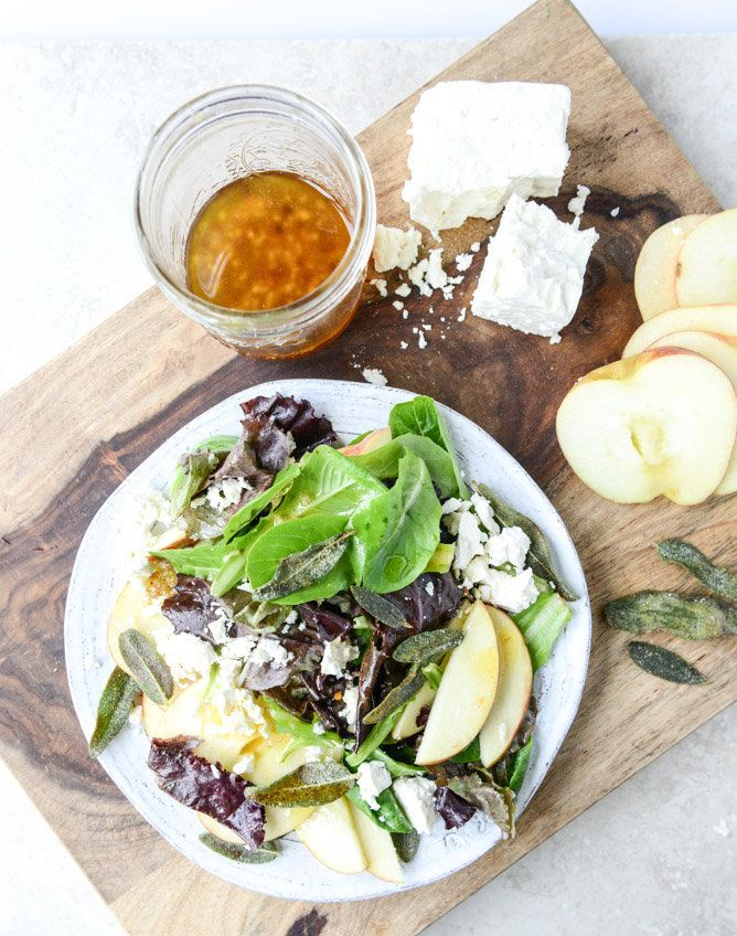 "<strong>Get the <a href=""http://www.howsweeteats.com/2014/09/honeycrisp-salad-with-crispy-sage-and-maple-vinaigrette/"" target"