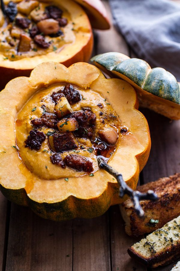 """<strong>Get the <a href=""""http://www.halfbakedharvest.com/chipotle-pumpkin-soup-crispy-chorizo-caramelized-apples/"""" target=""""_b"""