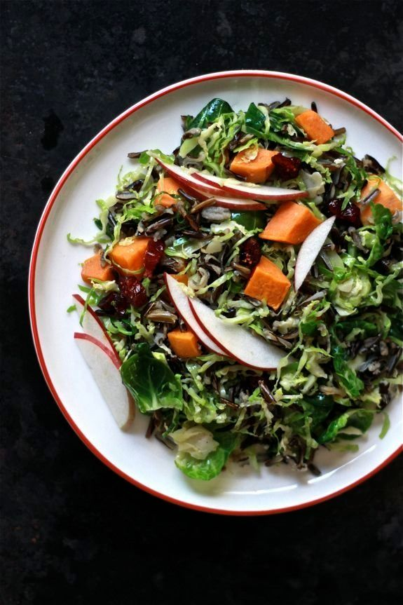 """<strong>Get the <a href=""""http://www.theclevercarrot.com/2013/10/shaved-brussels-sprouts-salad-with-wild-rice-apples/"""" target="""