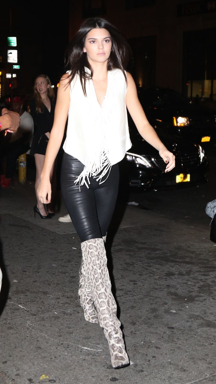 Hailey baldwin grabs kendall jenner 39 s leather clad butt for Kendall jenner snake tattoo