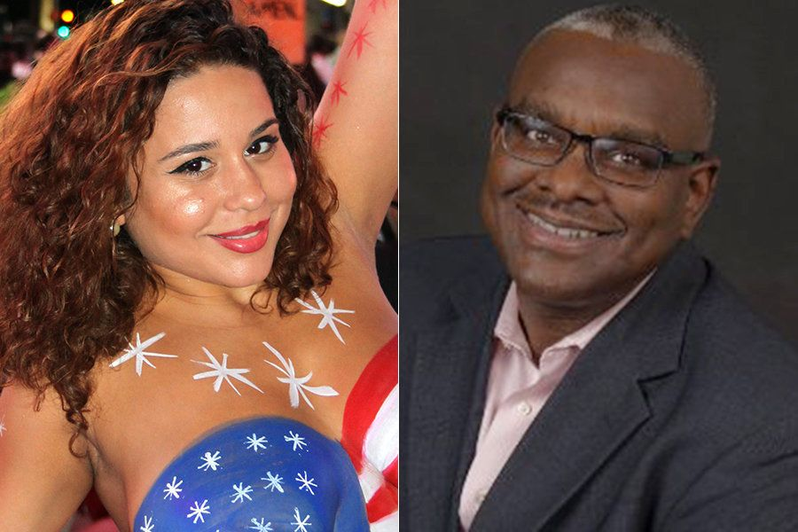 Topless performer Lourdes Carrasquillo, left, was allegedly thrown to the ground by Bank of America executive Mark Walters, r