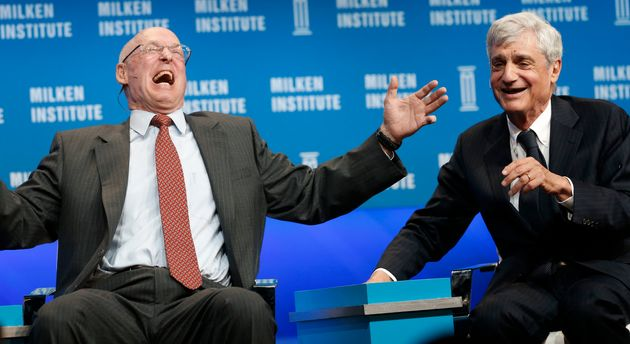 "<span class='image-component__caption' itemprop=""caption"">Former Treasury Secretaries Henry Paulson (left) and Robert Rubin have a good laugh about income inequality.</span>"