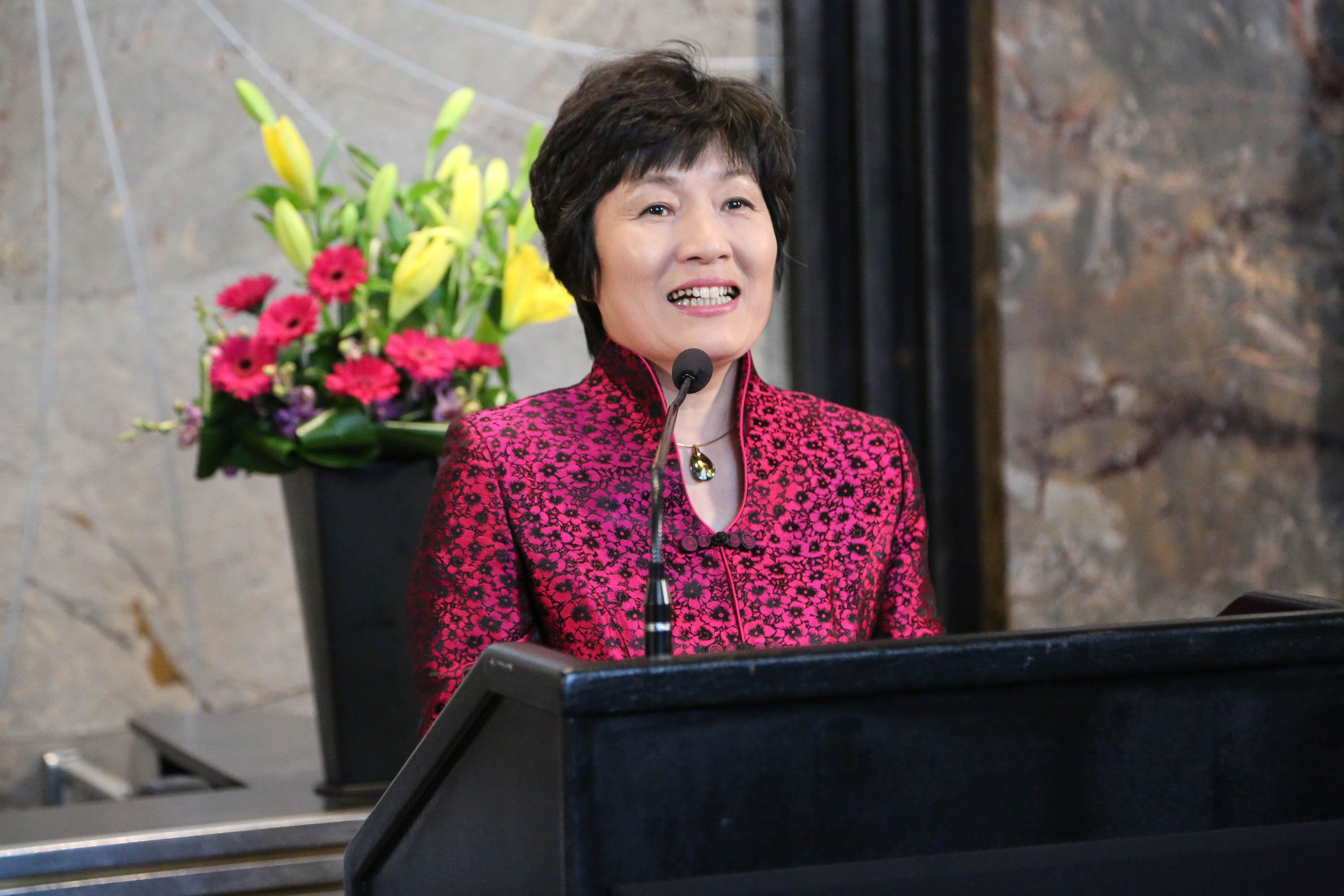 Chinese Consul General Zhang Qiyue highlighted thegood relations between New York and her nation.