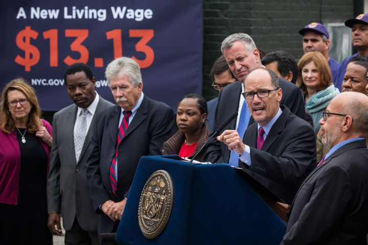 Tom Perez speaks at a September 2014 press conference in New York City announcing Mayor Bill de Blasio's signing of ane