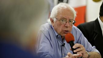 Senator Bernie Sanders, an independent from Vermont and 2016 Democratic presidential candidate, speaks to a primarily Latino audience during a campaign stop at the Muscatine Boxing Club in Muscatine, Iowa, U.S., on Friday, Sept. 4, 2015. Sanders said yesterday he doesn't have a foreign policy section on his website's issues page because one of his campaign's problems is that 'our support is growing faster than our political infrastructure.' Photographer: Daniel Acker/Bloomberg via Getty Images