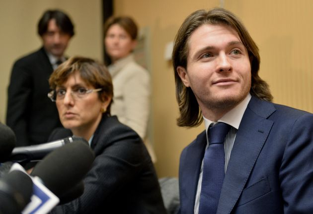 "<span class='image-component__caption' itemprop=""caption"">Raffaele Sollecito (R) and his lawyer Giulia Bongiorno (L) deliver a press conference in Rome on March 30, 2015.</span>"