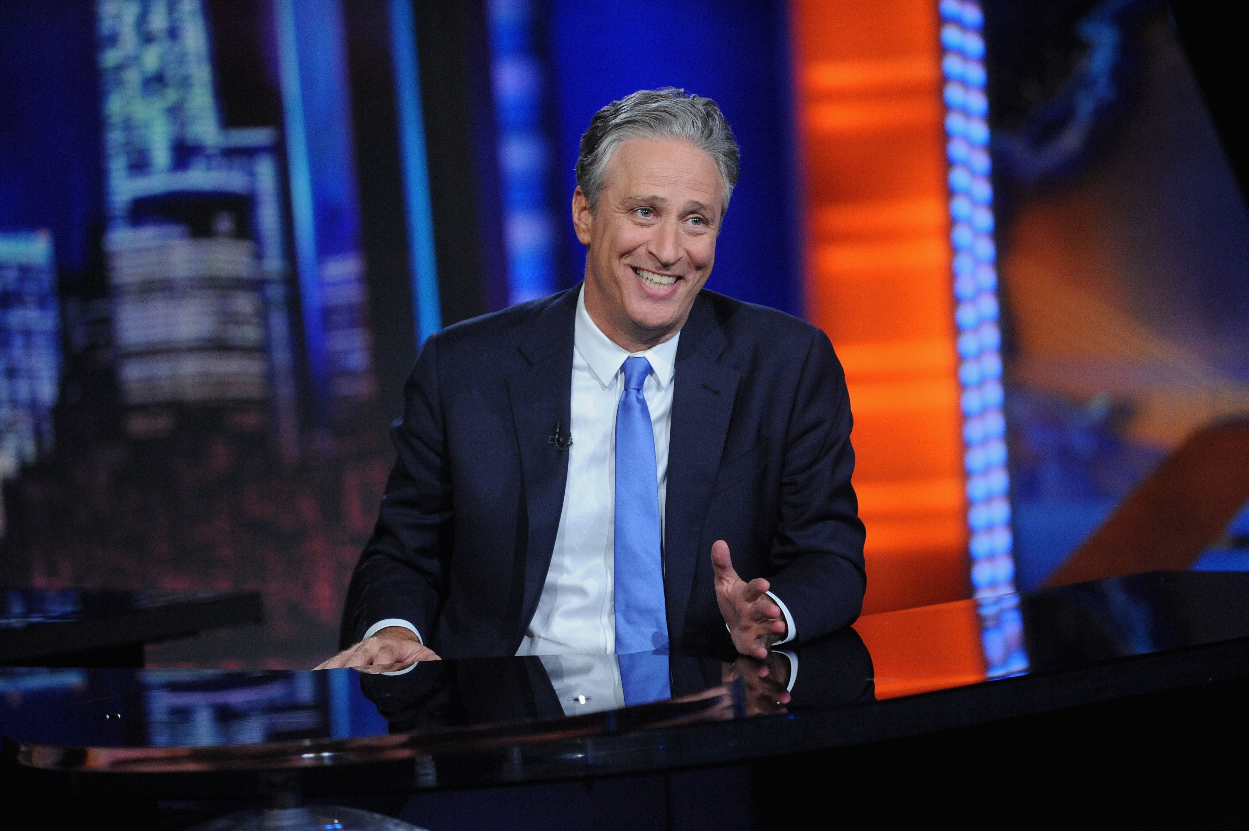 NEW YORK, NY - AUGUST 06:  Jon Stewart hosts 'The Daily Show with Jon Stewart' #JonVoyage on August 6, 2015 in New York City.  (Photo by Brad Barket/Getty Images for Comedy Central)
