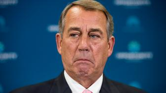 UNITED STATES - JULY 28: Speaker of the House John Boehner, R-Ohio, speaks to reporters after the House Republican Conference meeting in the Capitol on Tuesday, July 28, 2015. (Photo By Bill Clark/CQ Roll Call)