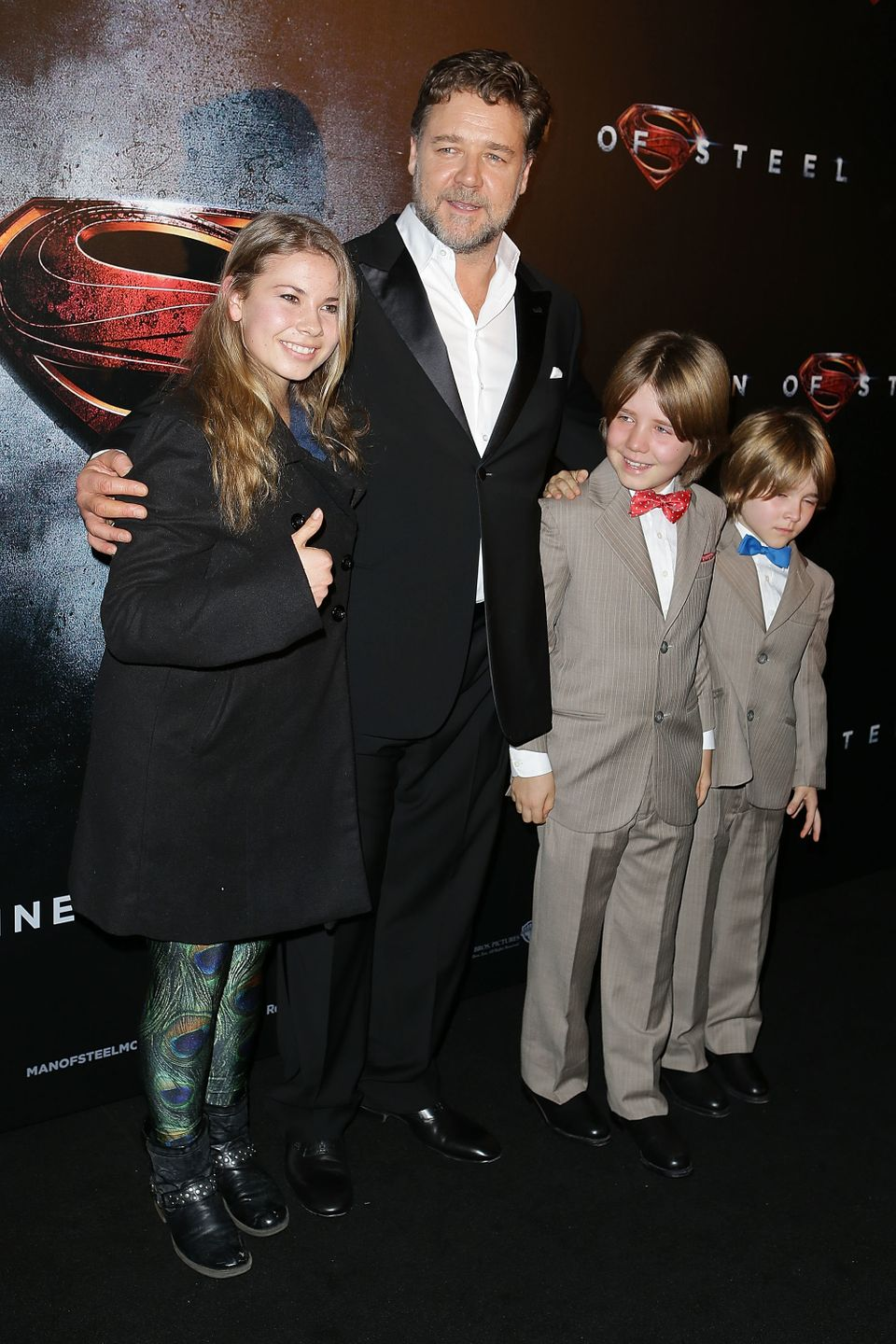 Bindi Irwin, Russell Crowe, Tennyson Crowe and Charles Crowe arrive at the 'Man Of Steel' Australian premiere on June 24, 201