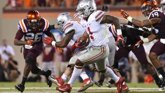 BLACKSBURG, VA - SEPTEMBER 7: Quarterback Braxton Miller #1 of the Ohio State Buckeyes rushes for a long touchdown against the Virginia Tech Hokies in the second half at Lane Stadium on September 7, 2015 in Blacksburg, Virginia. Ohio State defeated Virginia Tech 42-24. (Photo by Michael Shroyer/Getty Images)