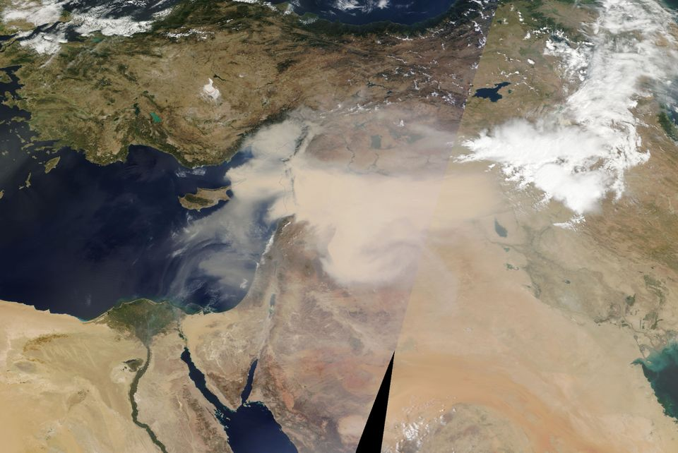NASA Worldview image of the sandstorm in the Middle East, Sept. 7,