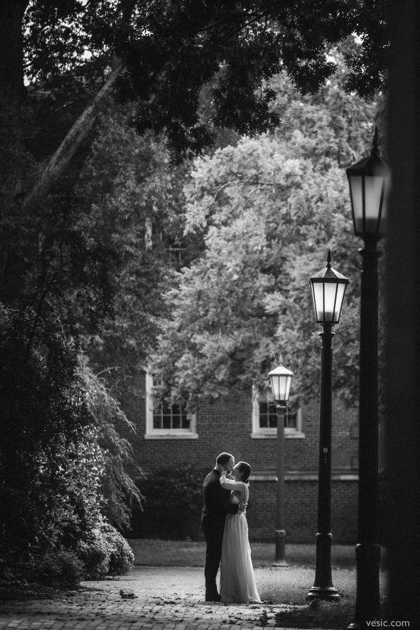 """""""Heather and Ryan take a stroll through the campus of the University of North Carolina in Chapel Hill before attending their"""