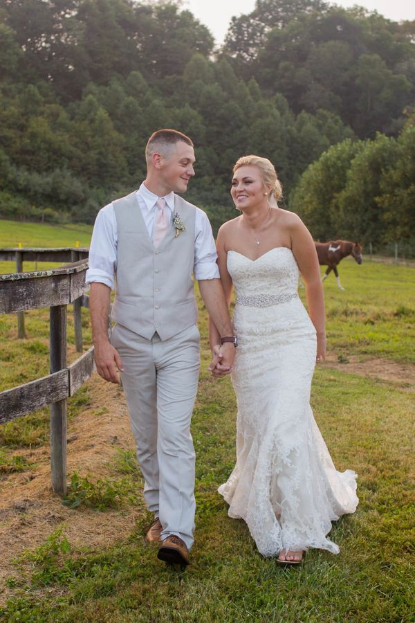 """""""Logan and Rachel were married on Saturday in a beautiful outdoor ceremony at his family farm in Hiltons, Virginia."""" - Pam Bu"""