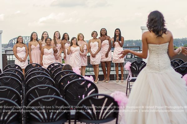 """""""Awesome bridal party first look!""""- Lea S. Thompson"""