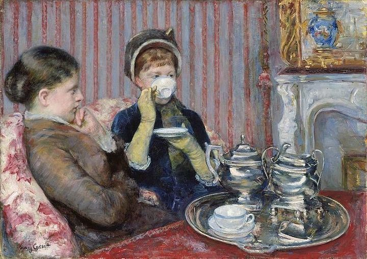 "<a href=""https://en.wikipedia.org/wiki/File:Mary_Cassatt_-_The_Tea_-_MFA_Boston_42.178.jpg"">Mary Cassatt, ""Five O'Clock Tea,"""