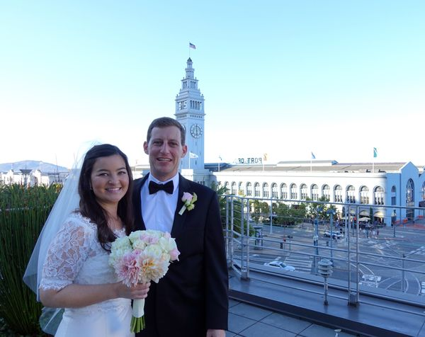 """""""Lindsay and Andrew got married on September 5 in San Francisco at a beautiful venue overlooking the historic Ferry Building."""