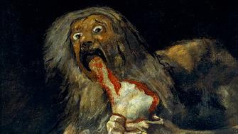 "<p><a href=""https://commons.wikimedia.org/wiki/File:Francisco_de_Goya,_Saturno_devorando_a_su_hijo_(1819-1823).jpg"">Francisco Goya, ""Saturn Devouring His Son,"" 1819-1823</a></p>"