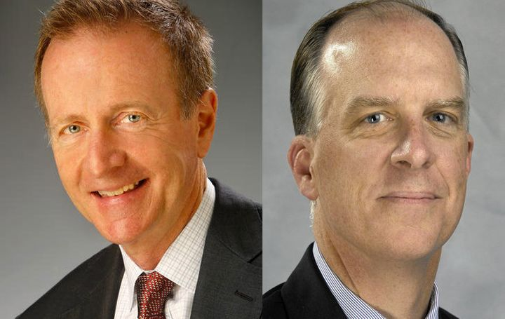 Austin Beutner (left)is being replaced byTimothy Ryanas publisher of the Los Angeles Times.