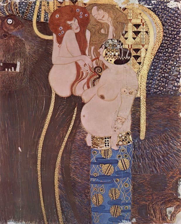 "<a href=""https://en.wikipedia.org/wiki/File:Gustav_Klimt_014.jpg"">Gustav Klimt, ""Der Beethovenfries"" (detail),&nbsp;1902</a>"