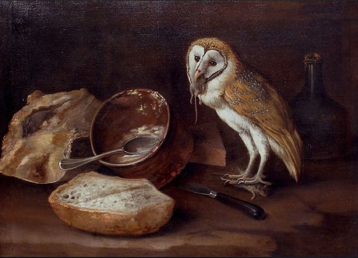 "<a href=""https://commons.wikimedia.org/wiki/File:George_William_Sartorius_(attr.)_-_An_Owl%E2%80%99s_Lunch.jpg"">George Willia"