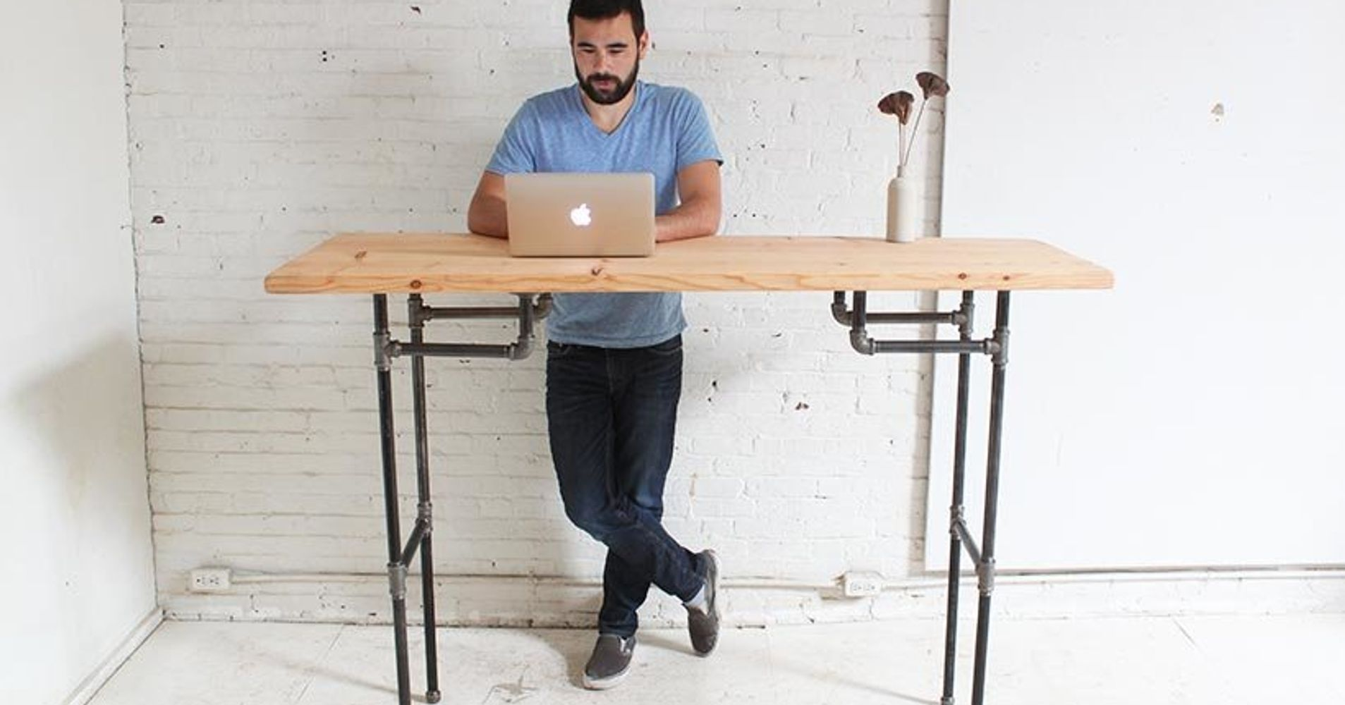 how to make your own standing desk huffpost. Black Bedroom Furniture Sets. Home Design Ideas