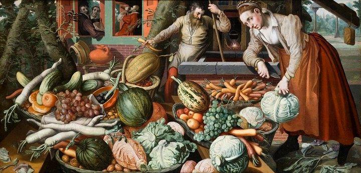 """<a href=""""Pieter Aertsen (circa 1508&ndash;1575) Link back to Creator infobox template wikidata:Q326548 Title Market Scene Des"""