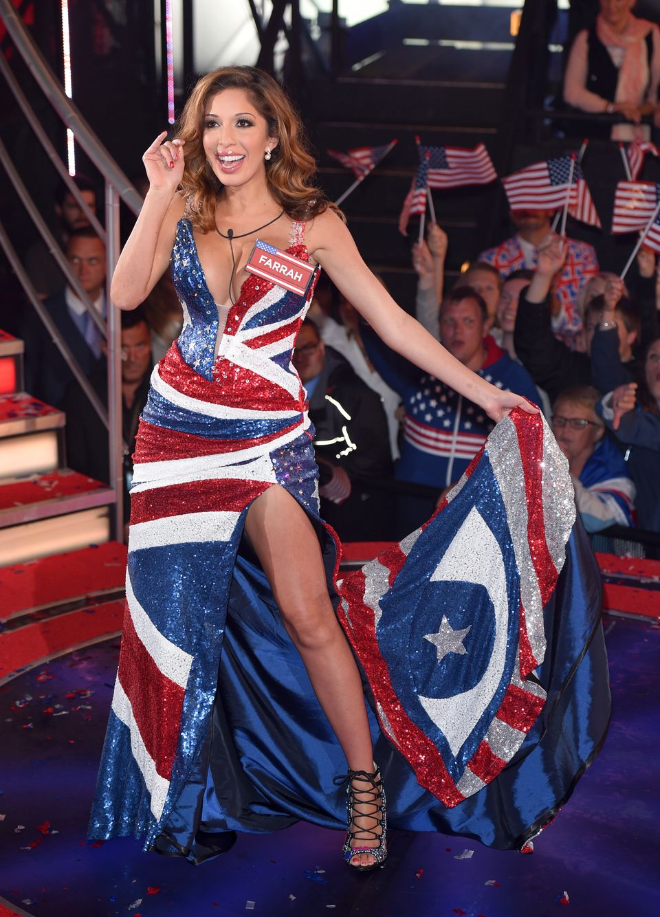 BOREHAMWOOD, ENGLAND - AUGUST 27:  Farrah Abraham enters the Celebrity Big Brother house at Elstree Studios on August 27, 201