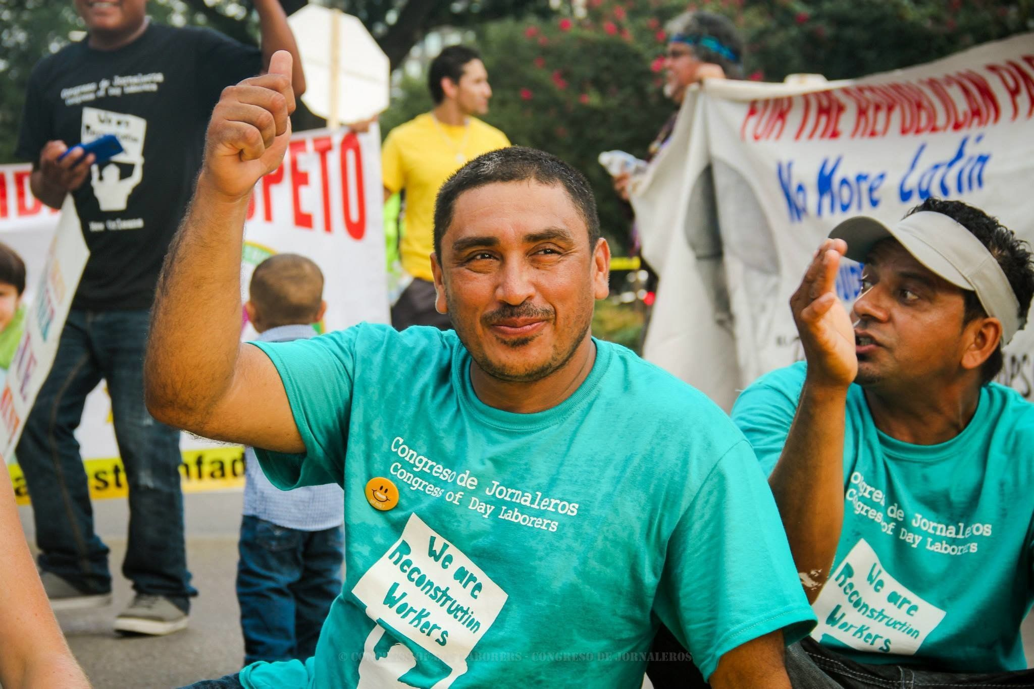 "<p>A man rallies at Congress Of Day Laborers event. Fernando Lopez, an<span style=""font-size: 11px;""> organizer for the group, </span>joined HuffPost Live to discuss the plight of immigrant workers post-Katrina.</p>"