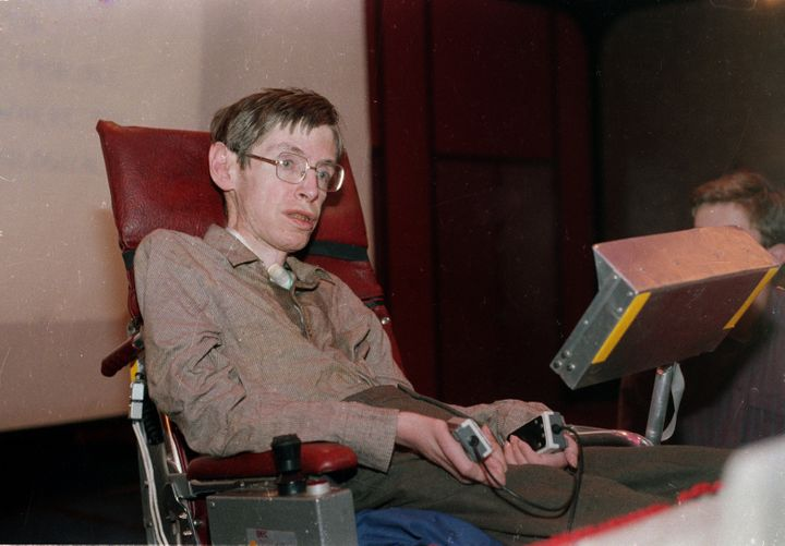Stephen Hawking in Chicago on Dec. 15, 1986. After Hawking lost his voice to pneumonia the prior year, computer scientis