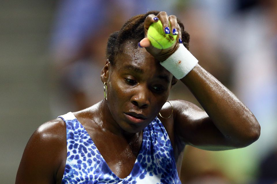 NEW YORK, NY - SEPTEMBER 08:  Venus Williams of the United States reacts against Serena Williams of the United States during