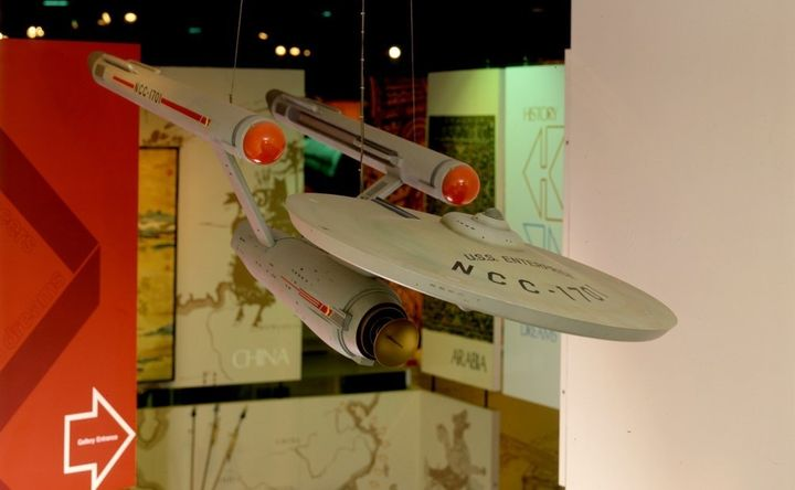 The Enterprise on display at the National Air and Space Museum's Rocketry and Spaceflight gallery in 1987. The Smithsonian is