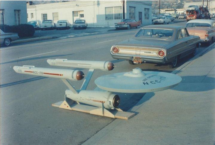 The production model of the starship Enterprise, as seenoutside the Production Model Shop in Burbank, California, on De
