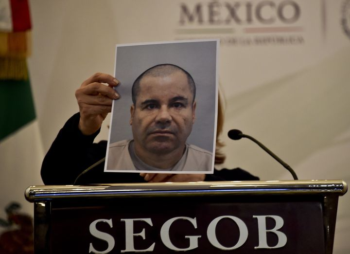 Mexico Attorney General Arely Gomez shows a picture of Joaquin 'El Chapo' Guzman during a press conference in Mexico City, on