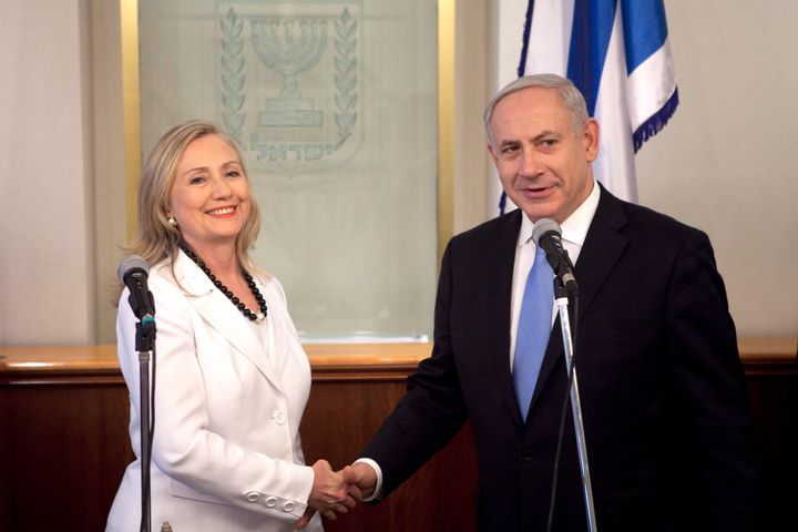 Hillary Clinton and Benjamin Netanyahu in Jerusalem, Israel in 2012.