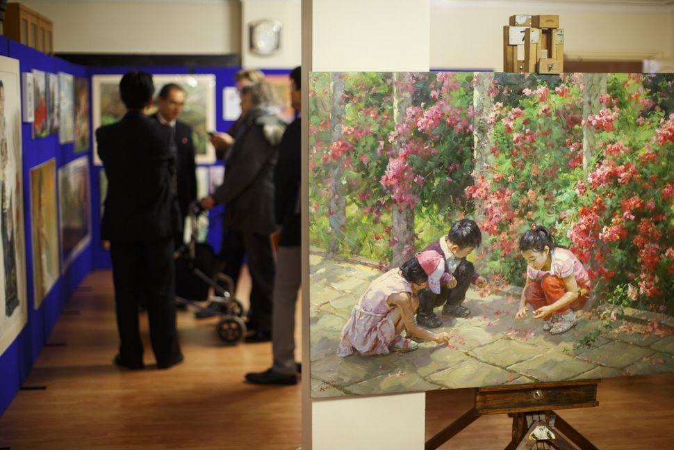 An art exhibition at the North Korean embassy.