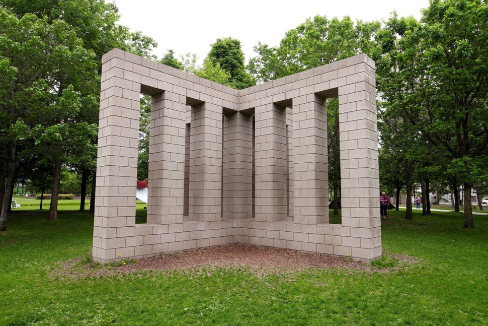 "Sol LeWitt's ""X with Columns"" sculpture at the Minneapolis Sculpture Garden on May 23, 2015 in Minneapolis, Minnesota. (Photo"