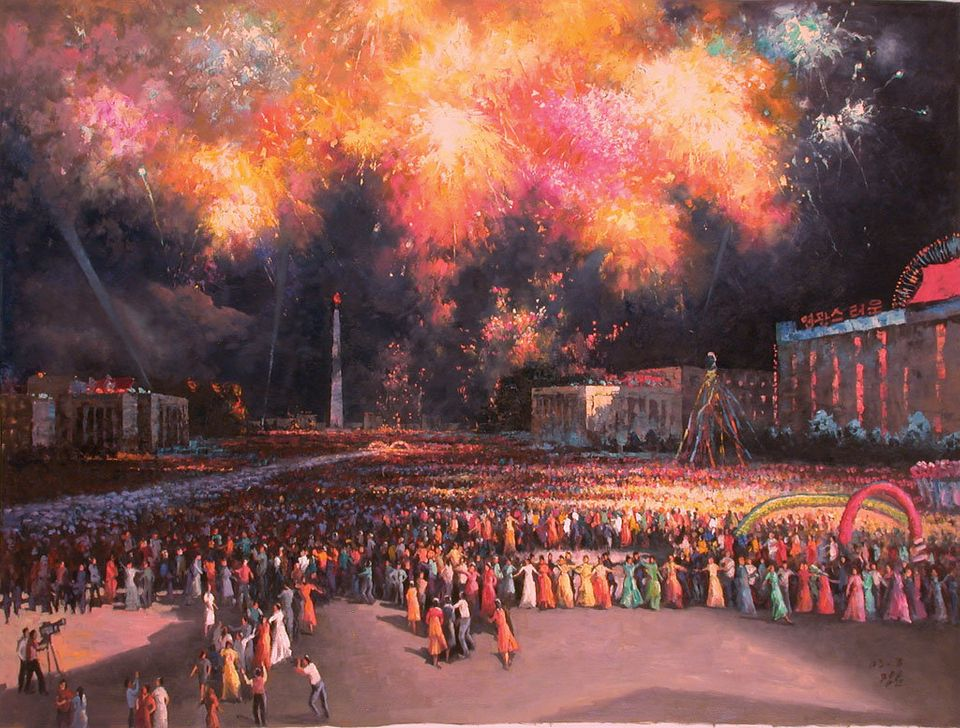 """<span class='image-component__caption' itemprop=""""caption"""">""""Dance Party In Open Air,"""" 2006, Han Guang Hun. Asked whether this scene is based on reality, Mansudae's webmaster answered sort of in the affirmative.</span>"""