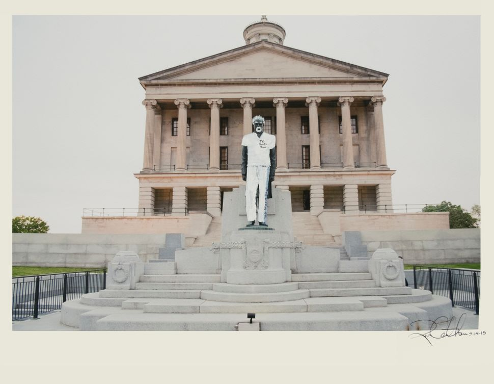 New Monument for Nashville, 2015, Acrylic and ink on photograph