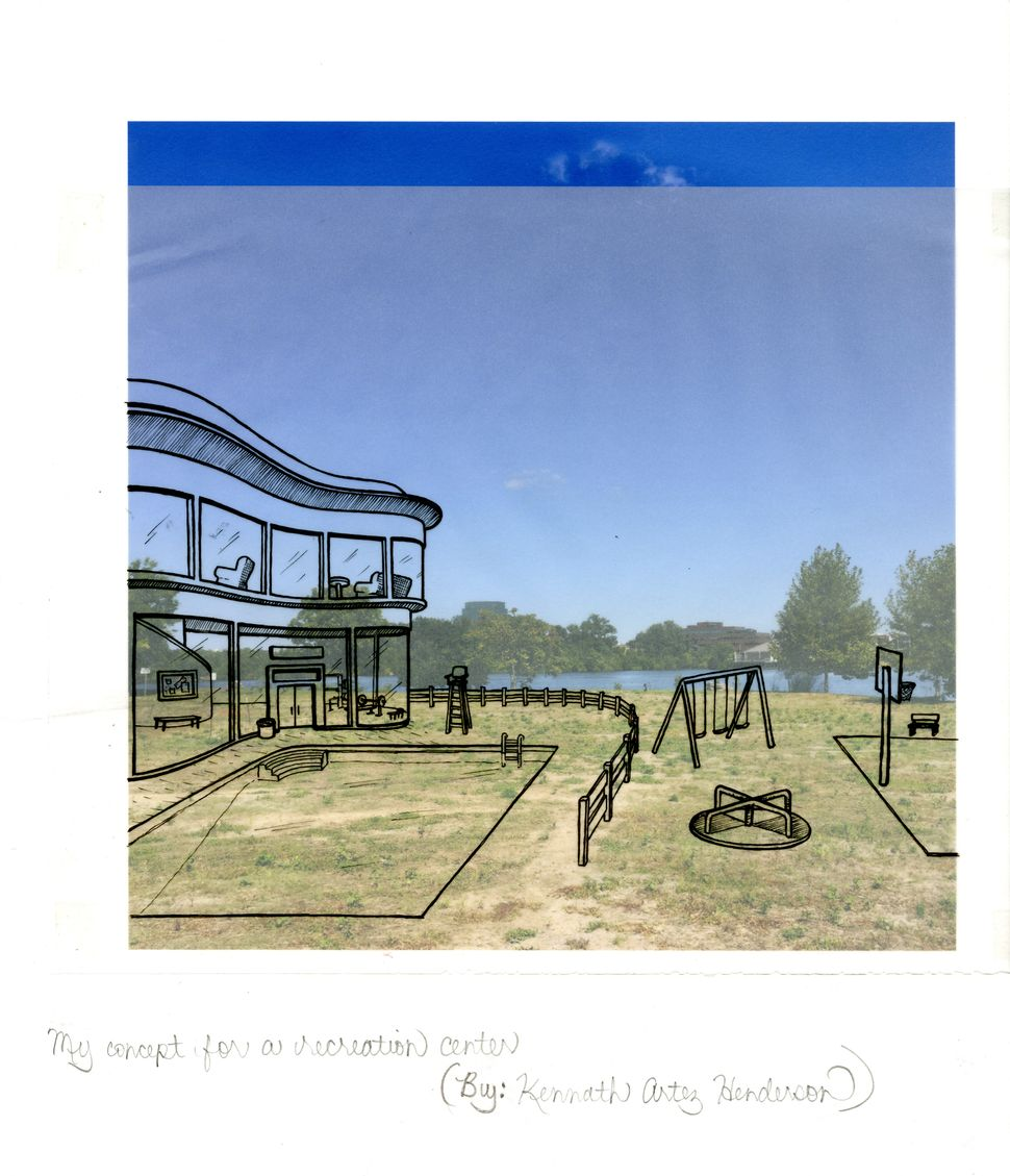 Proposal for a Recreation Center (drawing by artist Holly Carden), 2015, photograph and drawing on paper