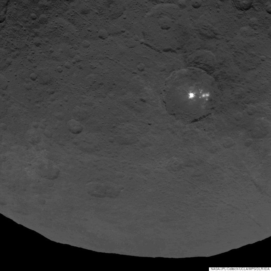 A photo taken of the crater in June shows the bright spots at a distance of 2,700 miles.