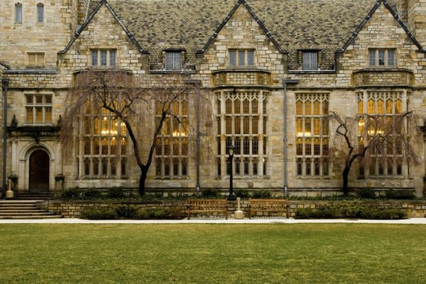 Yale University's campus in the evening.