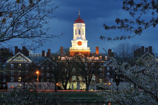 Harvard University at night.
