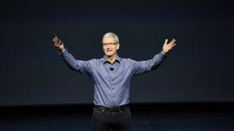 Tim Cook, chief executive officer of Apple Inc., speaks during an Apple product announcement in San Francisco, California, U.S., on Wednesday, Sept. 9, 2015. Apple Inc. introduced a larger iPad with a 12.9-inch screen, designed to attract business users and jump-start demand for its tablets. Photographer: David Paul Morris/Bloomberg via Getty Images