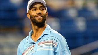 <p>James Blake looks on during his match against Andy RoddickinAugust 2015.</p>