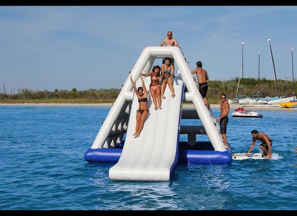 If merely standing on water isn't thrilling enough for you, there's always this floating water park that costs as much as a d