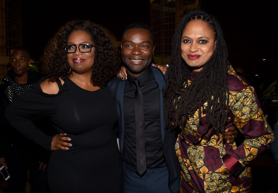 HOLLYWOOD, CA - NOVEMBER 11:  (L-R) Producer/actor Oprah Winfrey, actor David Oyelowo, and director Ava DuVernay attend the '