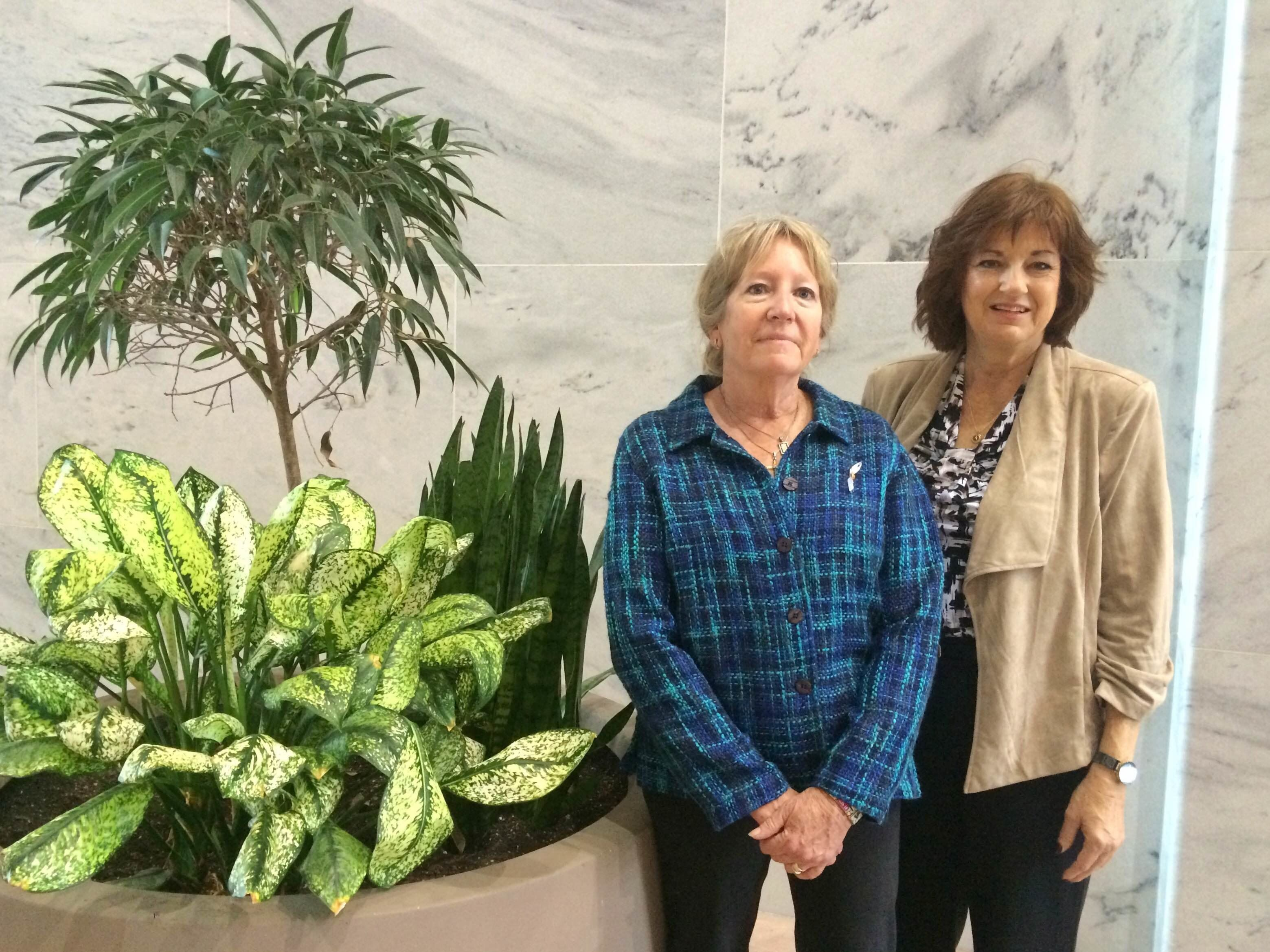 <p>Michelle DeFord and Karen Meredith, pictured in the Hart Senate Office Building, traveled to Washington, D.C. to push lawmakers to support the Iran deal. </p>