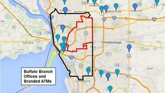 <p>This graphic from&nbsp;the lawsuit shows the locations of Evans Bank's branches and ATMs.&nbsp;Evans allegedly refused to provide loans or offer branch and ATM services within the area bounded in red, a predominantly black part of the city.</p>